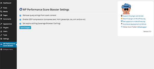 WP Performance Score Booster dasboard