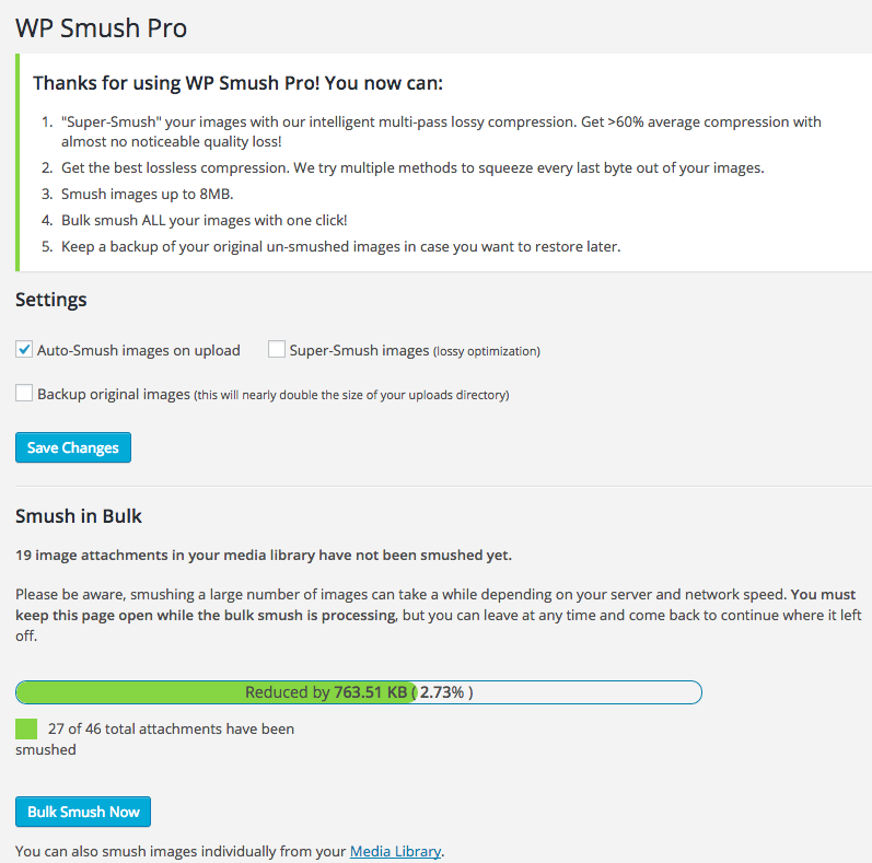 WP Smush Pro dasboard
