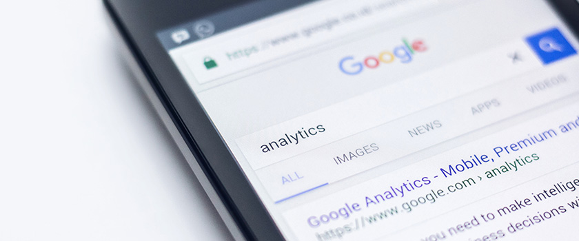 Phone with google search of analytics